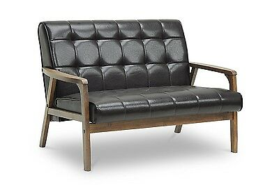 Retro Mid Century Loveseat Sofa Couch Antique Style Vintage Wood Furniture