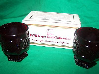 NEW Avon 1876 Cape Cod Ruby Red Glass FOOTED GLASS Set of 2 - Original Box