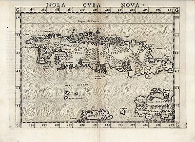 """Map of Cuba from Ptolemy's Geography (1561) ~ """"Isola Cuba"""" ~ Measures 9"""" x 11"""""""