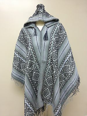 Shamans Hooded Gray and  Black Poncho- Andean Mountain Textile