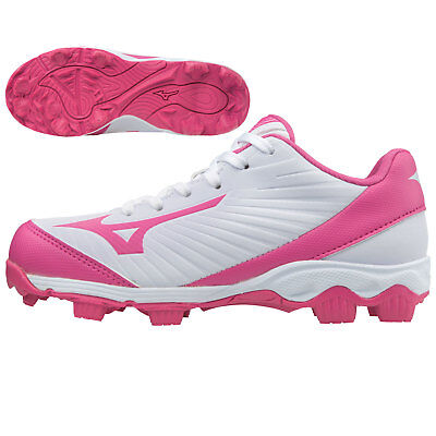 Mizuno Youth 9-Spike Advanced Finch Franchise 7 Softball Cleats, White/Pink, 4.5
