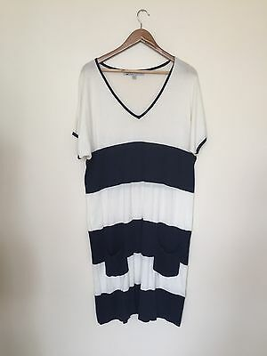 Crew Clothing Co Nautical Maxi Striped Shift Jumper Jersey Dress Navy White UK10