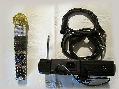 Custom made Sparkling Wireless Pro Microphone American Idol style AudioTechnica