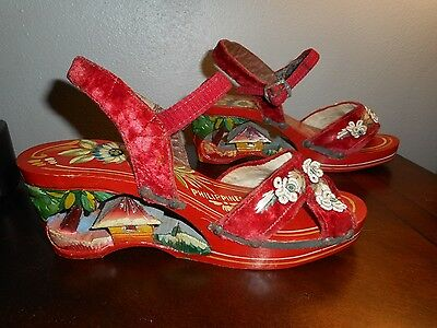 1940's-50's HAND PAINTED, CARVED WOOD HEEL WOMEN'S 6 SHOES/SANDALS, PHILIPPINES