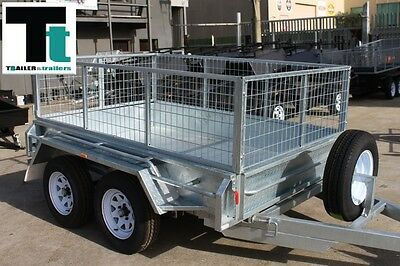8x5 Galvanised Tandem Trailer with cage