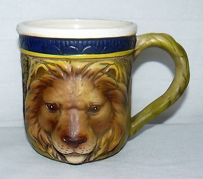 Vintage Ceramic 22 Oz Raised Lion Face Head Numbered E8547 Coffee Mug Matte