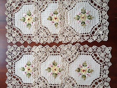 "6 pieces  10""  Square  Crochet Lace Doily COLOR Beige  100 % COTTON"