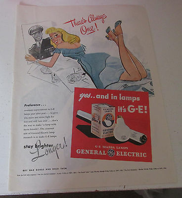 1945 original ad GE General Electric Light Bulbs Pretty Lady & Soldier's Picture