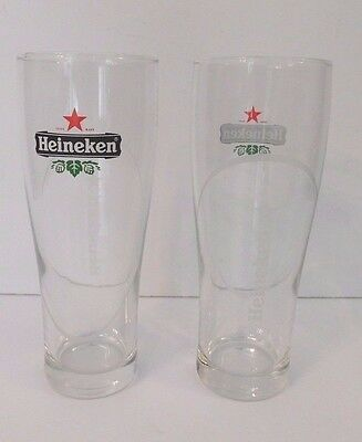 Heineken Beer Set of 2 Beer Glasses 25 CL Etched Glass NEW