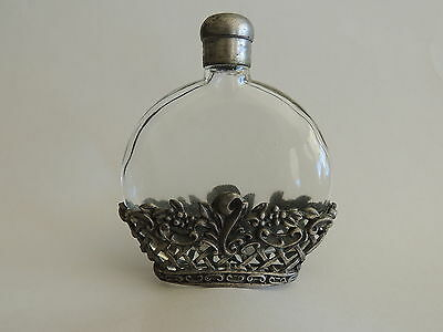 GLASS AND PEWTER PERFUME BOTTLE - VINTAGE - SCREW TOP - 97mm HIGH