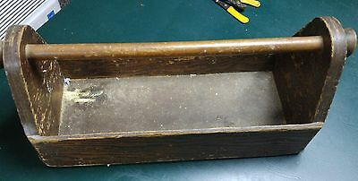 vintage wood carpenter tool box primitive rustic garden tote caddy old paint 18""