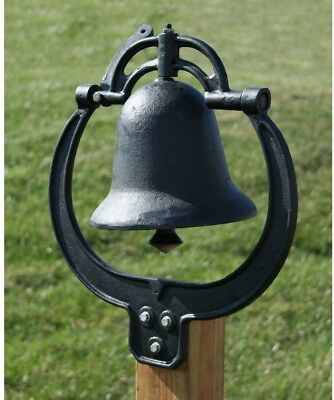 Cast Iron Farm Dinner Bell Ring Outdoor Hanging Porch Fence Post Black Farm Bell
