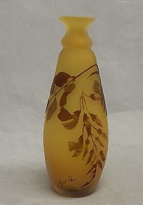"Beautiful Emile Galle Cameo Glass 5"" Yellow Vase"