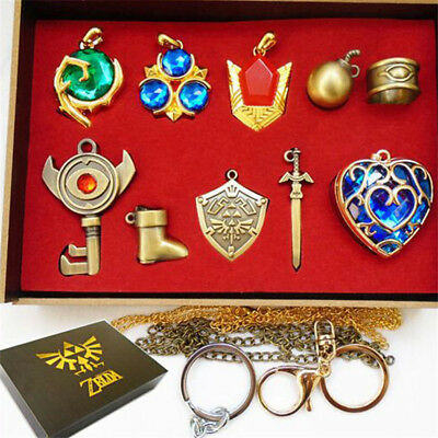 10Pcs 1Set The Legend Of Zelda  Keychain Pendant  Necklace Keychain With Box