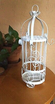 Vintage Rustic White Metal Decorative Hanging Birdcage Shabby Chic 15 1/2""