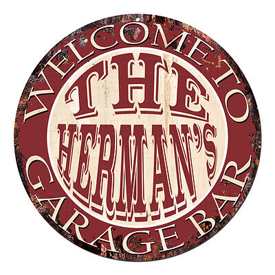CPGB-0183 Welcome HERMAN'S GARAGE BAR Rustic Chic Tin Sign Man Cave Decor