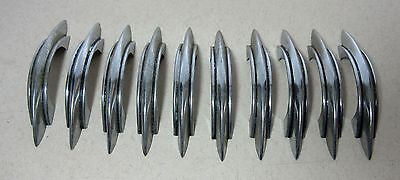 10 Vintage Chrome Stripe Mid Century Modern Cabinet Drawer Handles Kitchen Pulls