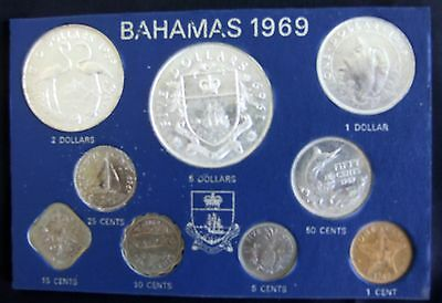 1969 Coins of Bahamas Uncirculated  Specimen Set by Franklin Mint--in sleeve