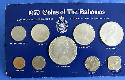 1970 Coins of Bahamas Uncirculated  Specimen Set by Franklin Mint--encapsulated