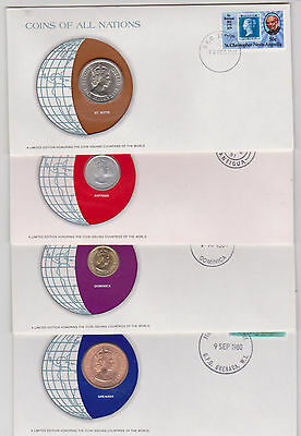 East Caribbean Kitts Antigua Dominica Grenada 1965 Nations Coins (4 Coin Covers)
