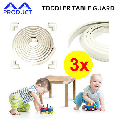 3xToddler Baby Safety Soft Foam Table Guard Edge Corner Cushion Protector White
