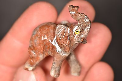 Soapstone ELEPHANT CARVING 3.8cm 17g Carved Healing Crystal Gift