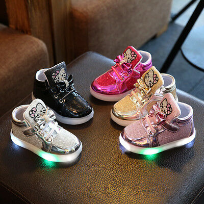 Kids Boys Girls LED Luminous Trainers Shoes Baby Light Up Outdoor Sport Sneakers