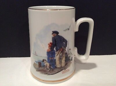 """Norman Rockwell Museum Vtg 1985 """"looking Out To Sea"""" Collectible Nautical Mug"""