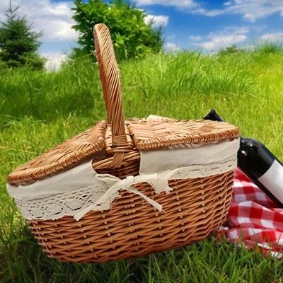 Travel Wicker Picnic Basket Shopping Hamper with Lid and Handle Camping Storage