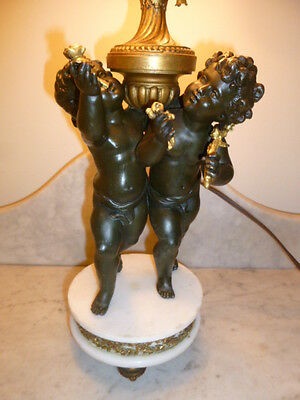 French Art Nouveau period spelter alabaster lamp with cherubs & tapestry shade