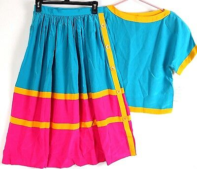 VTG Neiman Marcus Silk Skirt Top Colorblock Pink Turquoise Women 10 NWT 80s 90s