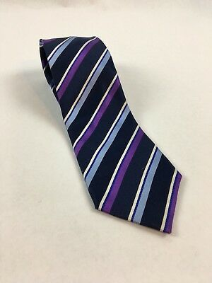 Countess Mara 100% Silk Mens Tie 57 long x 3.25 wide Purple Blue Striped