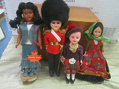 Lot of 4 Vintage Dolls English Beefeater, American Indian Squaw, Gypsy and Scot
