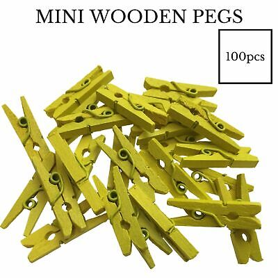 100pcs MINI WOODEN PEGS Natural 25mm Craft Baby Shower Clothes Line Pin BULK