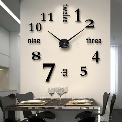 Living Room Large Art Design 3D DIY EVA Hanging Wall Clock Mirror Decoration