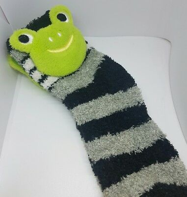 X1 pair Socks Shoes Boys FROG 5-8 yrs Unisex Fluffy Warm Green Black Stripe Aus