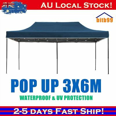 3X6M Pop Up Folding Gazebo Outdoor Marquee Party Canopy Market Tent Shade BBQ