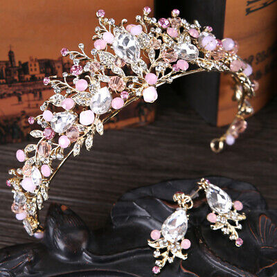 Pink Crystal Crown Wedding Hair Accessories Pageant Bride Tiaras with Earrings