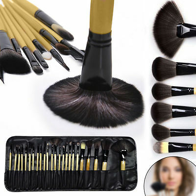 Glow 24Piece Wooden Handle Professional Kit Make up Brushes Set in Black Case