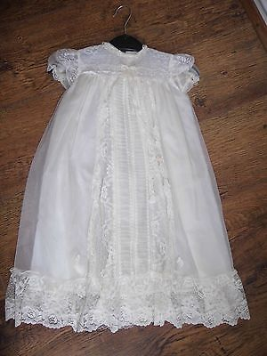 """Baby Christening gown 9"""" under arm 24"""" length 9"""" neck Twins Nylon & Lace w004"""