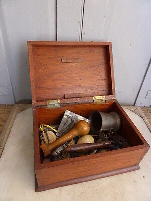 Antique wooden box with misc contents