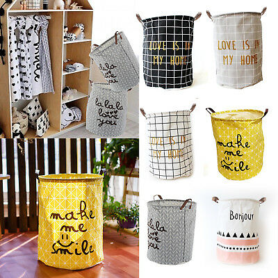 Foldable Kids Toy Hamper Canvas Laundry Basket Storage Bag With Leather handle