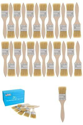 Us Art Supply 24 Pack Of 1-1/2 Inch Paint And Chip Paint Brushes For Paint, Stai
