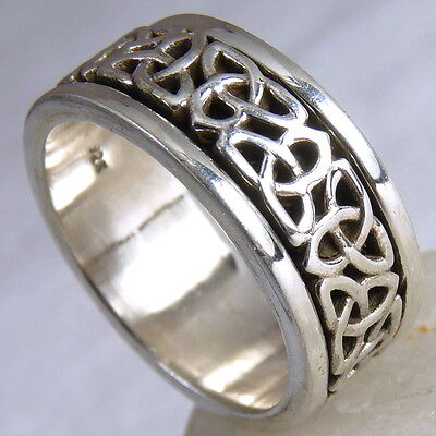 CELTIC KNOT SPINNER Size US 11 SilverSari Fidget RING Solid 925 Sterling Silver