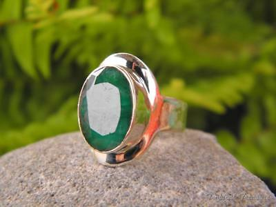 Emerald & 925 SOLID Silver Ring (Size 6, L 1/2)
