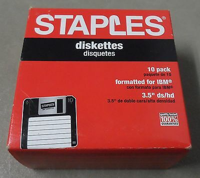 """Staples 10 Pack 3.5"""" ds/hd Diskettes Formatted For IBM  (New)"""