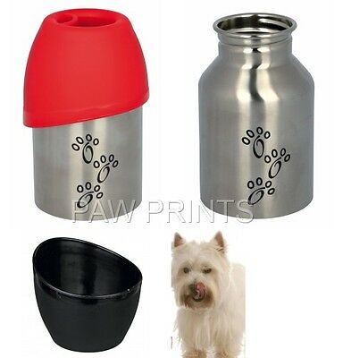 Stainless Steel Small Dog Breed Travel Bottle With Plastic Bowl  300Ml 24605