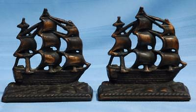Vintage Pair of Heavy Brass Old Ironsides Ship Bookends