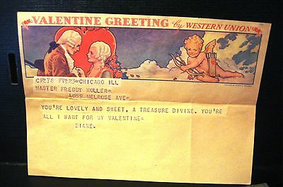 Western Union Valentine Greeting Telegram Created by Norman Rockwell