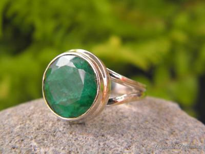 Emerald & 925 SOLID Silver Ring (Size 5 3/4, L)